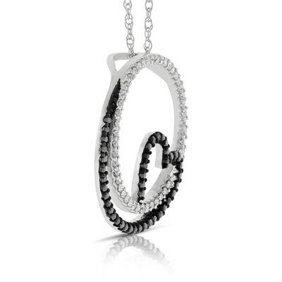 Circle & Heart Black & White Diamond Pendant 14K