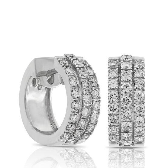 Triple Row Diamond Hoop Earrings 14K