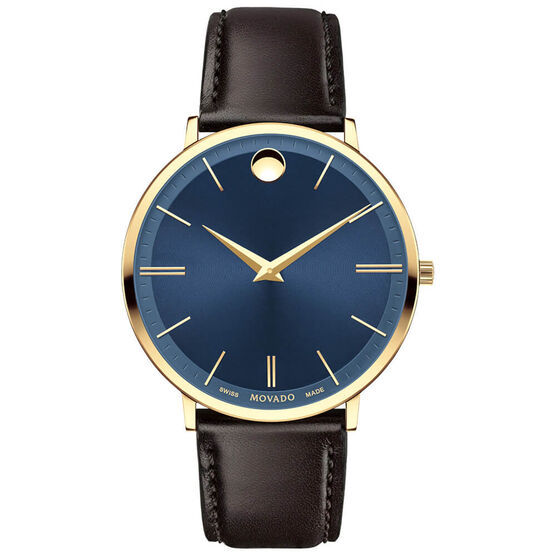 Movado Ultra Slim Blue DIal Gold PVD Watch, 40mm