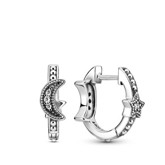 Pandora Crescent Moon & Stars Beaded CZ Hoop Earrings