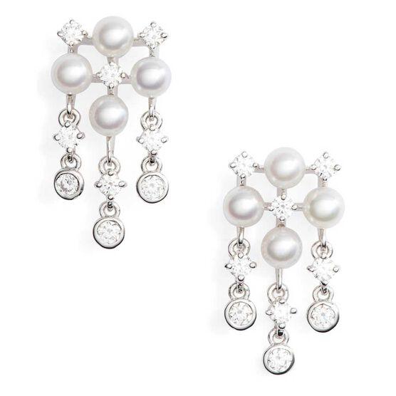 Mikimoto Akoya Cultured Pearl & Diamond Earrings 18K