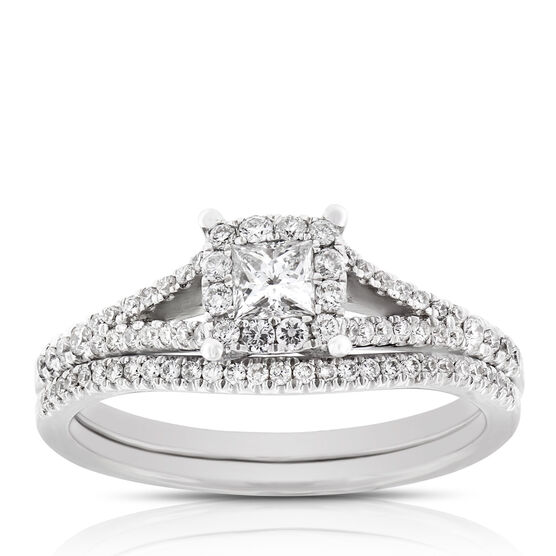 Princess Cut Halo Diamond Bridal Set 14K