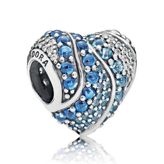 PANDORA Aqua Heart CZ & Crystals Charm