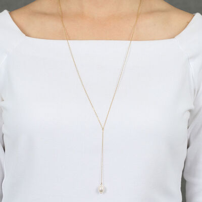 """Cultured Freshwater Pearl """"Y"""" Necklace 14K"""