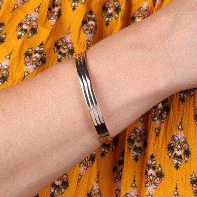 Toscano Tri-Color Tube Bangle Bracelet 14K