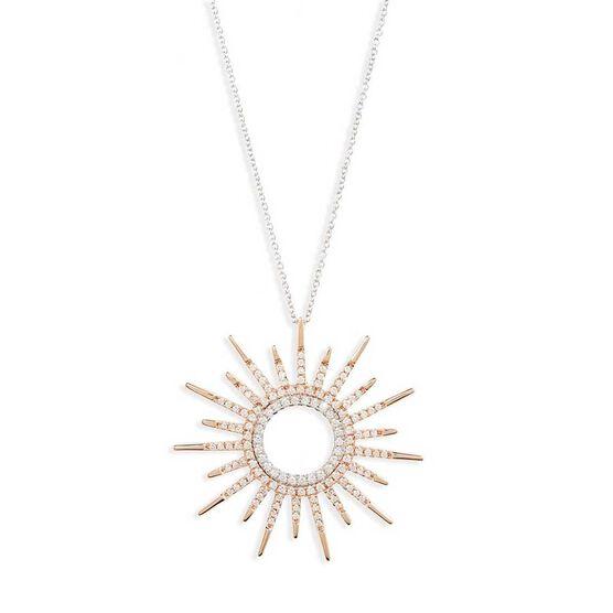 Rose Gold Roberto Coin Tiny Treasures Diamond Sun Necklace 18K