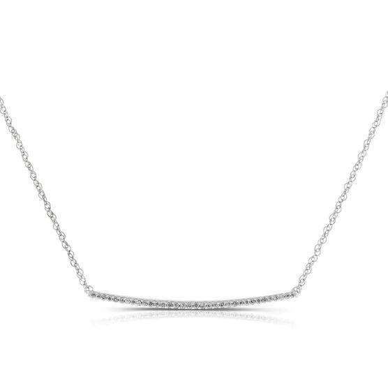 Curved Diamond Bar Necklace 14K