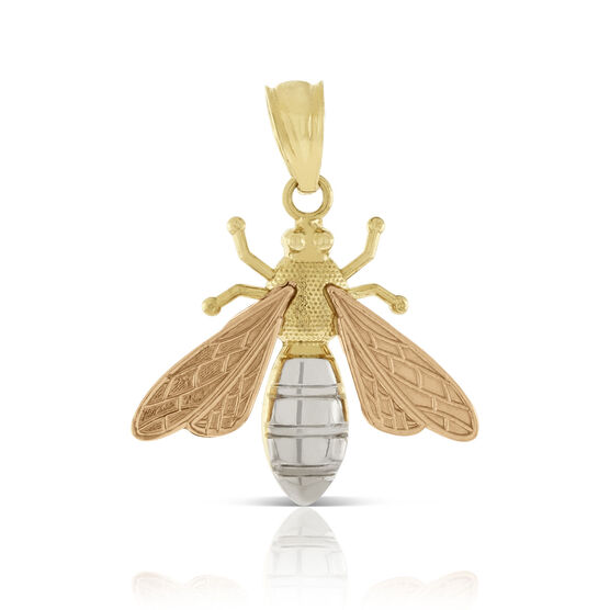Rose, Yellow & White Bee Charm / Pendant 14K