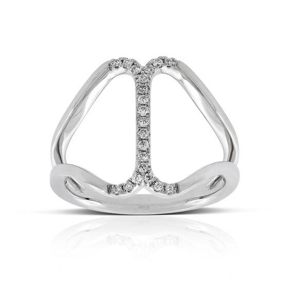 Open Center Row Diamond Ring 14K