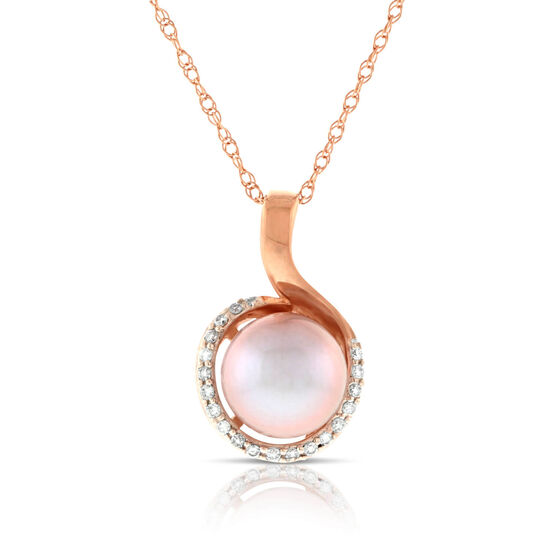 Rose Gold Cultured Pearl & Diamond Pendant 14K