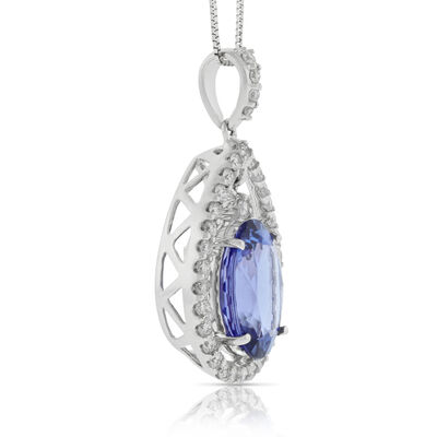 Tanzanite & Diamond Dangle Pendant 14K