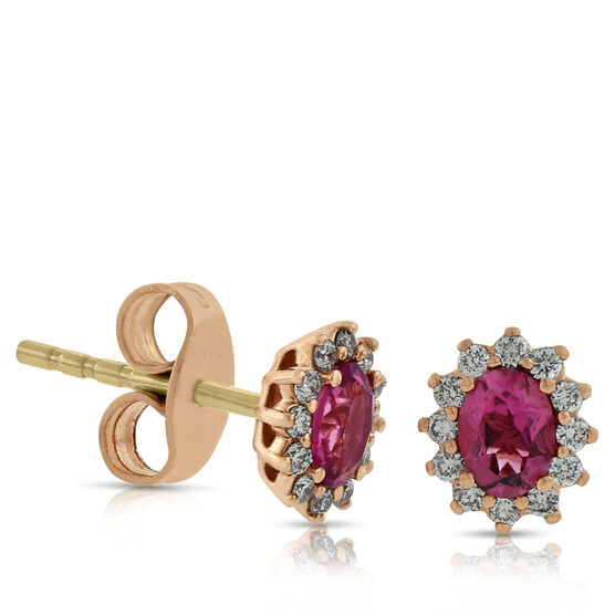 Rose Gold Pink Tourmaline Halo Earrings 14K