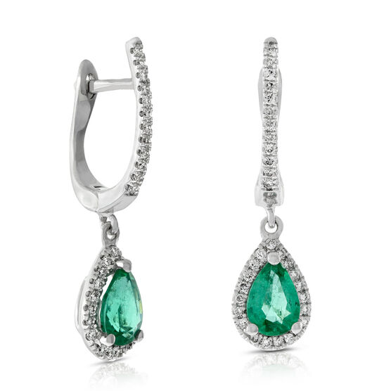 Emerald & Diamond Drop Earrings 14K