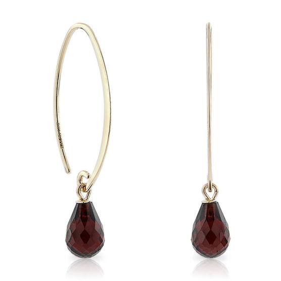 Briolette Cut Garnet Drop Earrings 14K