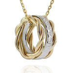 Two Tone Rolling Ring Pendant 14K