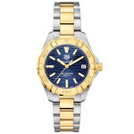 TAG Heuer Aquaracer Two-Tone Blue Dial Watch, 32mm, 18K & Steel