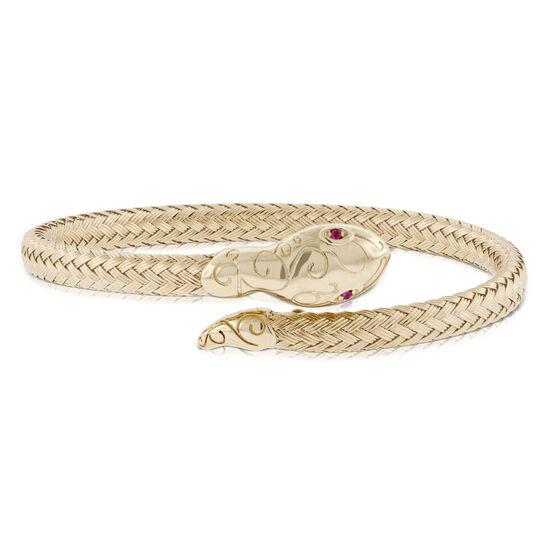 Toscano Ruby Eye Snake Cuff  Bracelet 14K