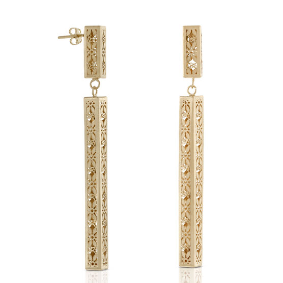 Toscano Floral Rectangular Drop Earrings 18K