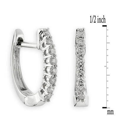 Oval Diamond Hoop Earrings 14K, 1/7 ctw.