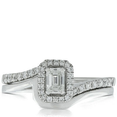 Emerald Cut Wedding Set 14K