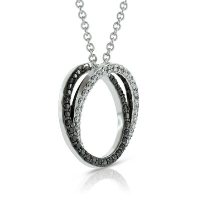 Black & White Diamond Pendant 14K
