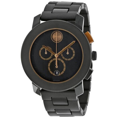 Movado Bold Black PVD Chronograph Watch, 43.5mm