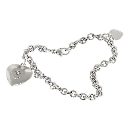 Baby Bracelet with Diamond Heart in Sterling Silver
