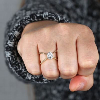Criss Cross Diamond Ring 14K
