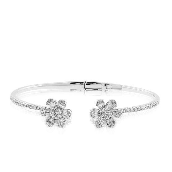 Double Flower Diamond Bangle 14K