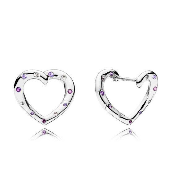 Pandora Hoop Earrings: PANDORA Bright Hearts Crystal & CZ Hoop Earrings