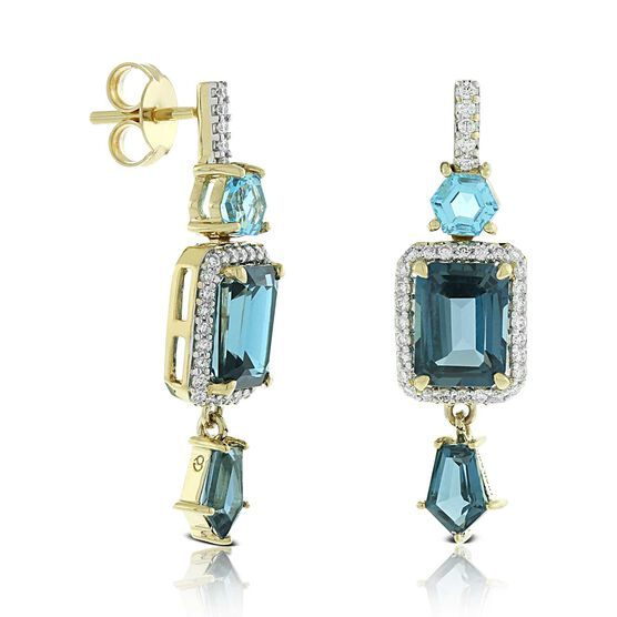Geometric Blue Topaz & Diamond Earrings 14K