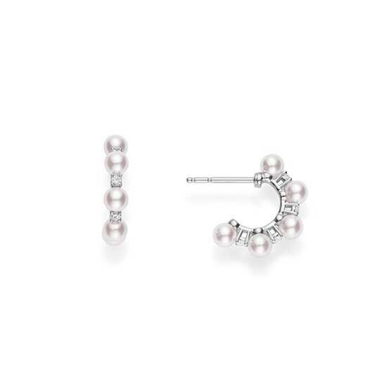 Mikimoto Akoya Cultured Pearl & Diamond Bubbles Earrings 18K