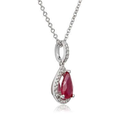 Pear Ruby & Diamond Halo Drop Necklace 14K