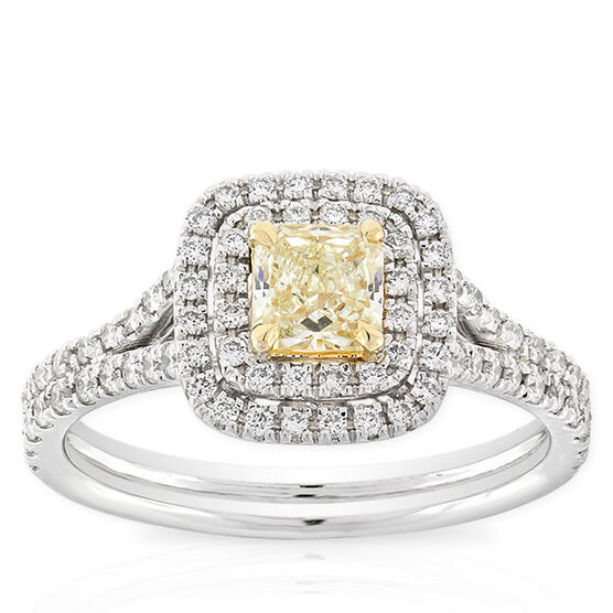 Radiant Cut Yellow Diamond Halo Ring .42 Ct.