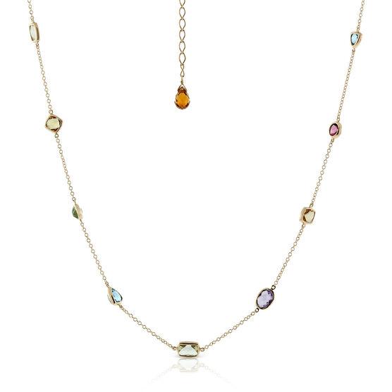 Multi-Gemstone & Diamond Necklace 14K