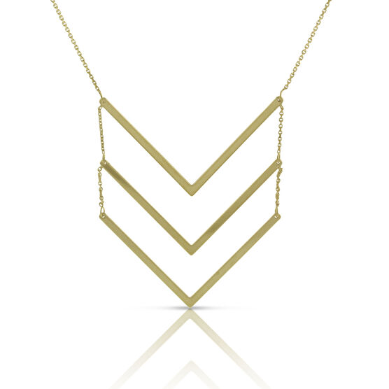 Tiered Chevron Necklace 14K