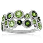 Lisa Bridge Bezel Set Peridot & Tourmaline Ring