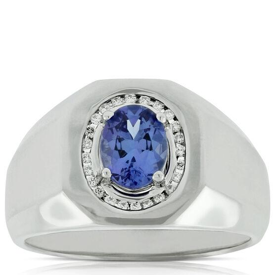 Men's Tanzanite & Diamond Ring 14K