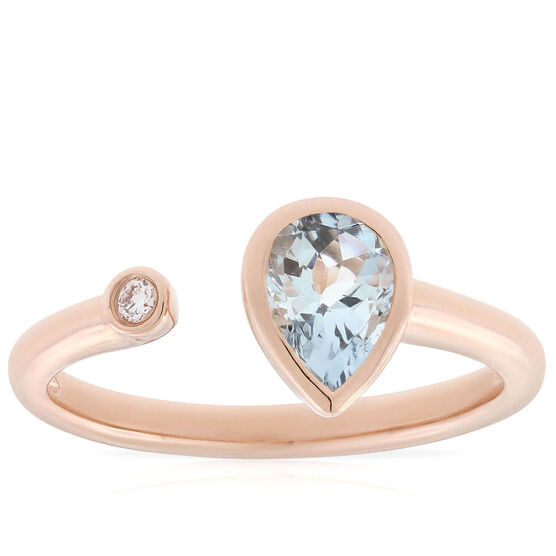 Rose Gold Aquamarine & Diamond Open Shank Ring 14K