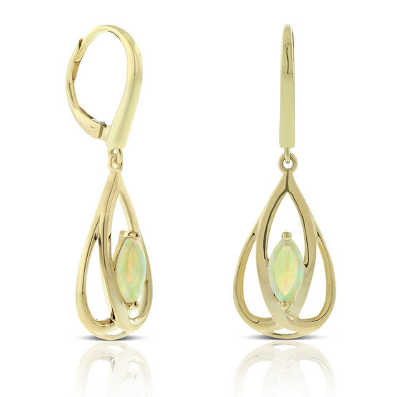 Opal Open Pear Drop Earrings 14K