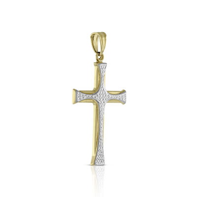 Two Tone Cross Pendant 14K