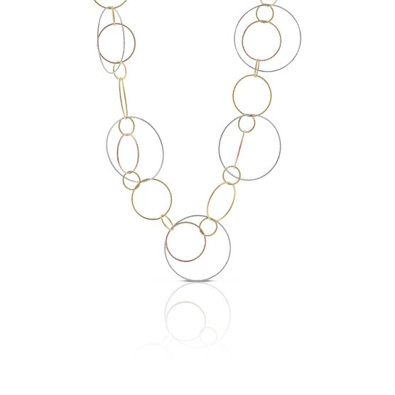 "Toscano Tri-Color Circle Mobile Necklace 14K, 32"""