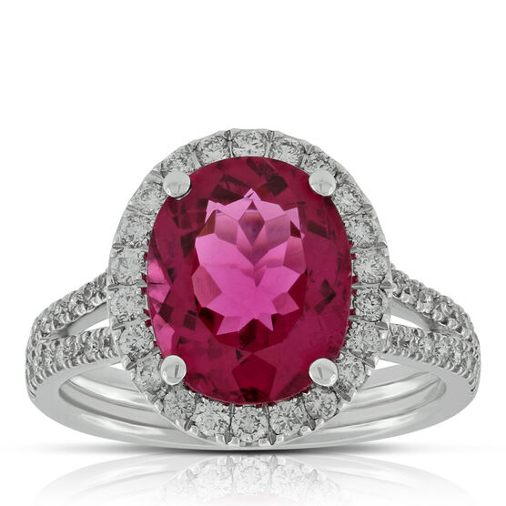 Rubellite & Diamond Halo Ring 14K