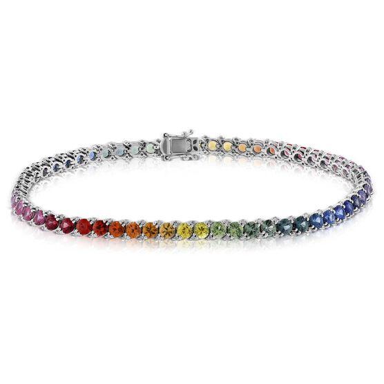 Rainbow Sapphire & Diamond Bracelet 14K