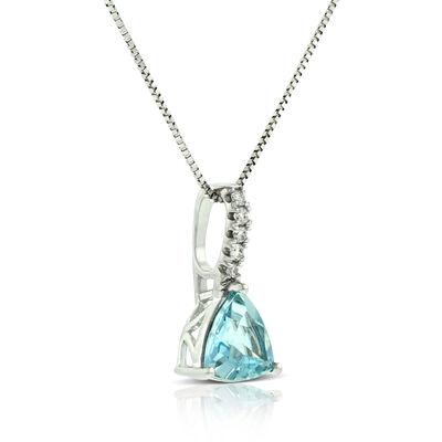 Trillion Aquamarine & Diamond Pendant 14K