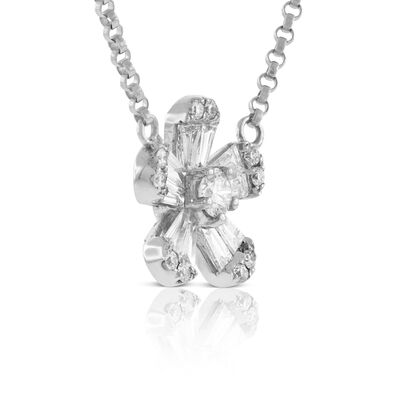 Five Petal Diamond Flower Necklace 14K