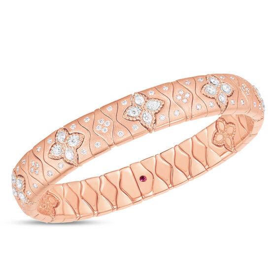 Rose Gold Roberto Coin Royal Princess Flower Diamond Bangle 18K