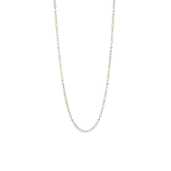 """Mikimoto Paperclip Chain Cultured Akoya Pearl Necklace 18K, 32.5"""""""