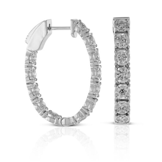 Diamond Oval Hoop Earrings 14K, 2.00 ctw.