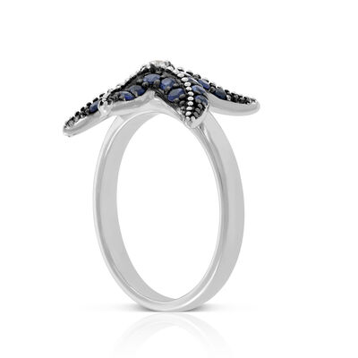 Lisa Bridge Sapphire & White Topaz Starfish Ring